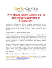 Why should culture vultures look to rent holiday apartments in Sotogrande.pdf