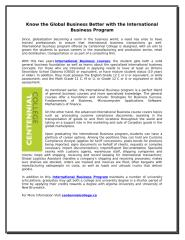 Know the Global Business Better with the International Business Program.doc